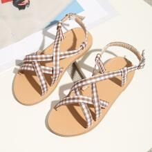 Toddler Girls Gingham Cross Strap Sandals