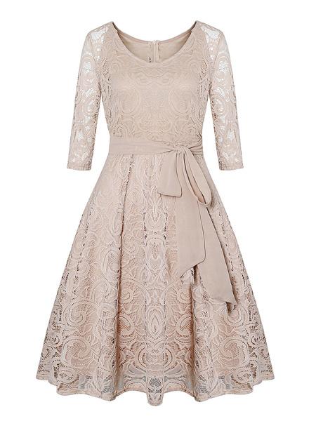 Milanoo Vestido de la vendimia de 1950 Oscuro Armada en capas atan para arriba las mangas largas cuello de la joya Sheer vestido retro semi