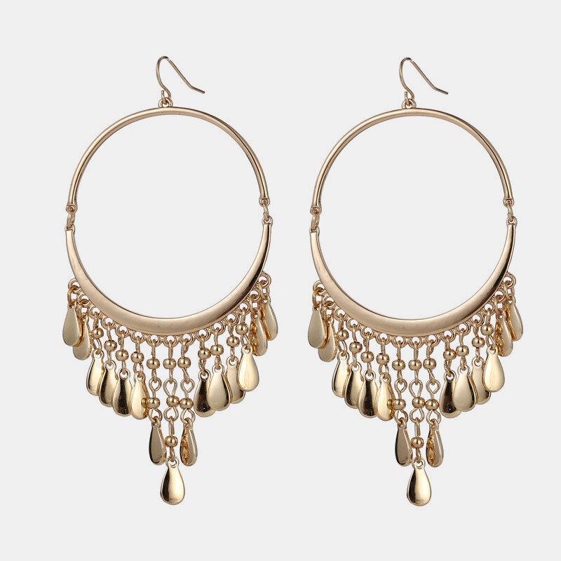 Bohemian Geometric Water Drop Tassel Pendant Earrings Metal Circle Tassel Ear Stud