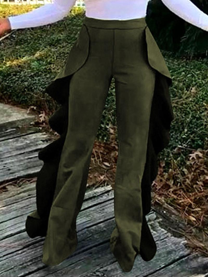 Ericdress Ruffles Slim Plain High Waist Casual Pants