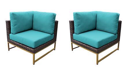 TKC049b-CS-DB-GLD-ARUBA Barcelona Corner Chair 2 Per Box - Beige and Aruba