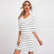 V-neck Striped Fitted Dress