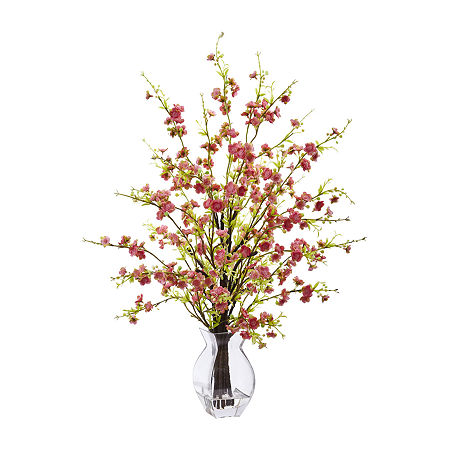 Nearly Natural Pink Cherry Blossom In Glass Vase Artificial Flowers, One Size , Pink