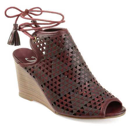 Journee Collection Womens Tandra Pumps Wedge Heel, 7 1/2 Medium, Red