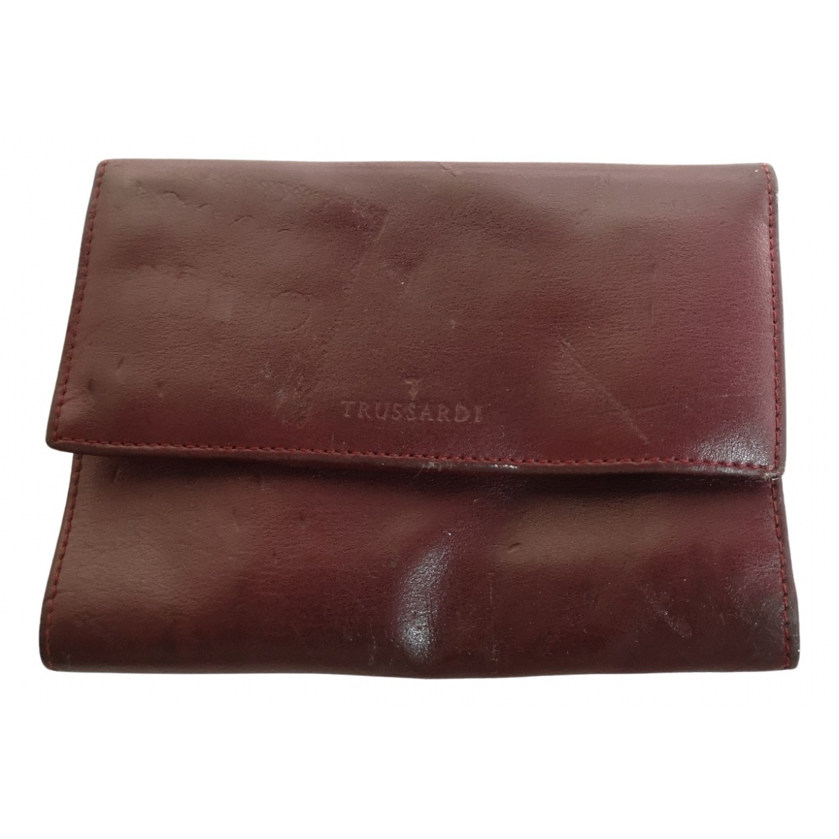 Trussardi - Portefeuille   pour femme en cuir - bordeaux