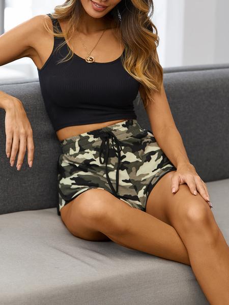 Yoins Army Green Camo Drawstring Waist Shorts