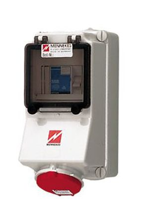 MENNEKES IP44 Red Wall Mount 5P 25 ° Industrial Power Socket, Rated At 32.0A, 400 V