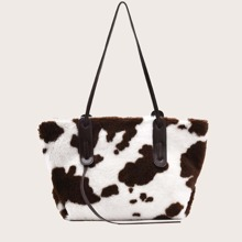 Cow Print Fluffy Tote Bag