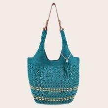 Tassel Charm Crochet Bucket Bag