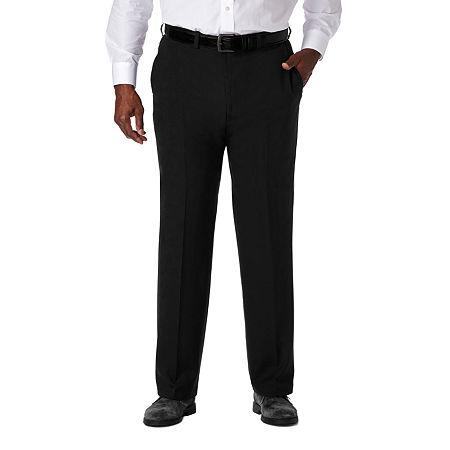 Haggar Cool 18 Pro Flat Front Pant- Big & Tall, 46 30, Black