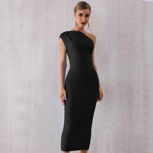 Adyce Zip Back One Shoulder Solid Dress
