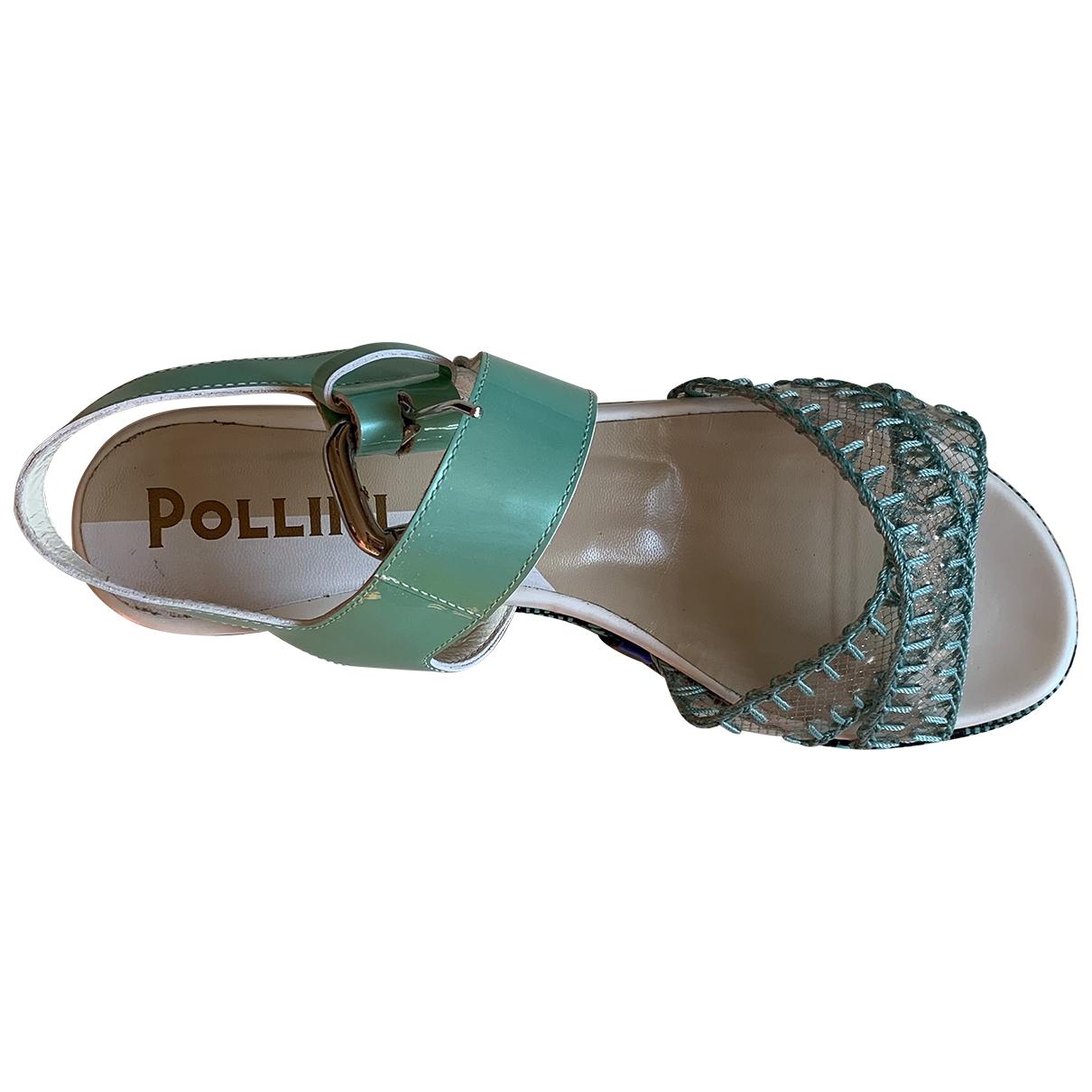 Pollini - Sandales   pour femme en cuir - turquoise
