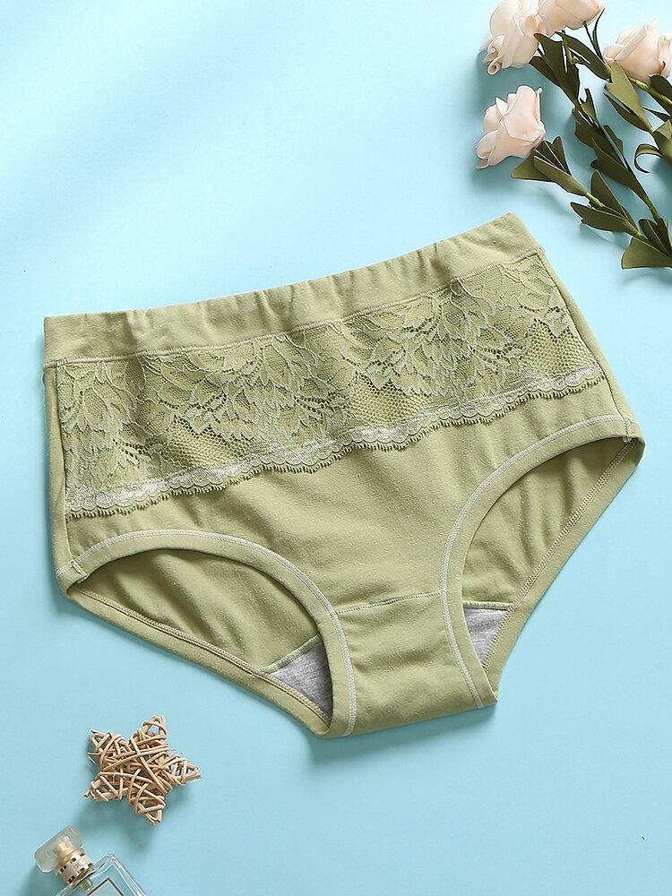 Multi Color Women Lace Cotton Comfy Breathable Antibacterial Mid Waist Panties