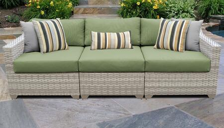Fairmont Collection FAIRMONT-03c-CILANTRO 3-Piece Patio Sofa with Left Arm Chair  Armless Chair and Right Arm Chair - Beige and Cilantro