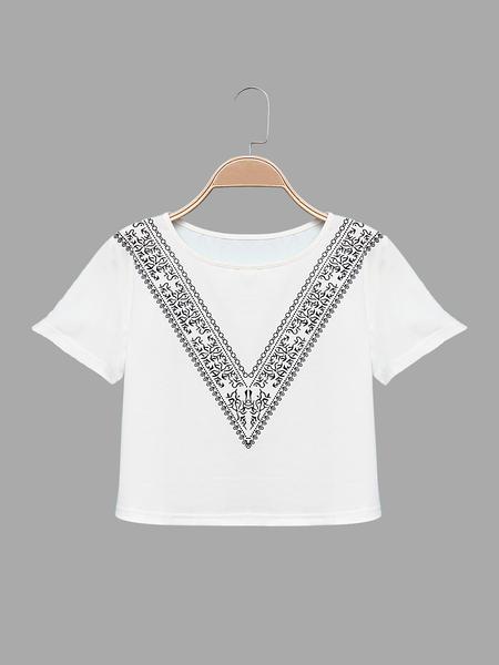 Yoins Round Neck Cropped T-shirt