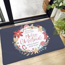 Alfombra de piso con estampado de navidad