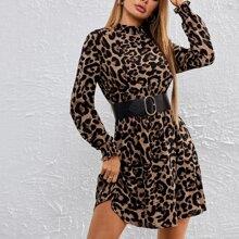 Vestido de leopardo panel con fruncido sin cinturon