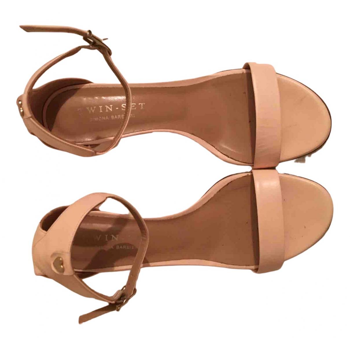 Twin Set - Sandales   pour femme en cuir - rose