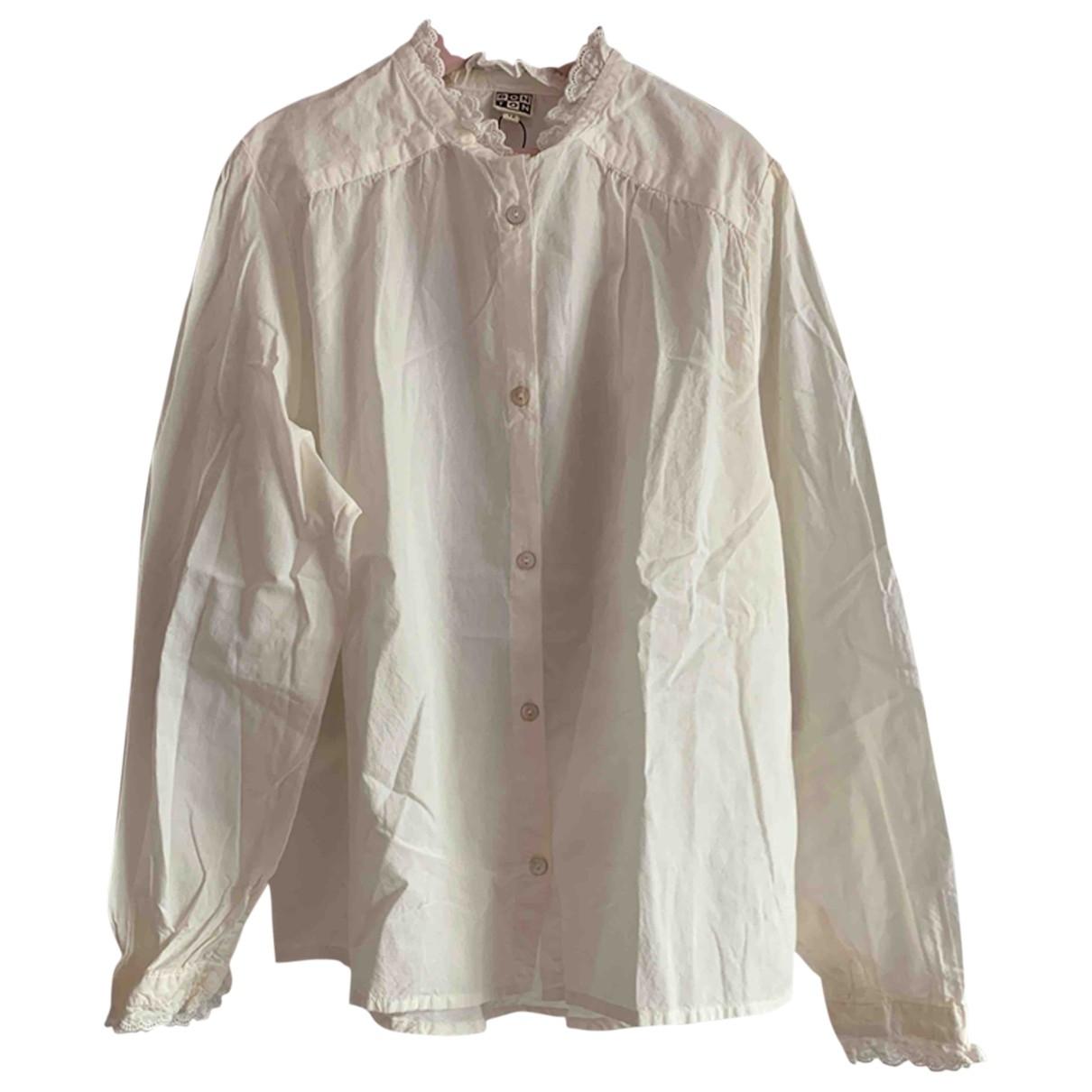 Bonton - Top   pour enfant en coton - blanc