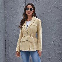Mantel mit Revers Kragen, Taschen Klappe und Guertel