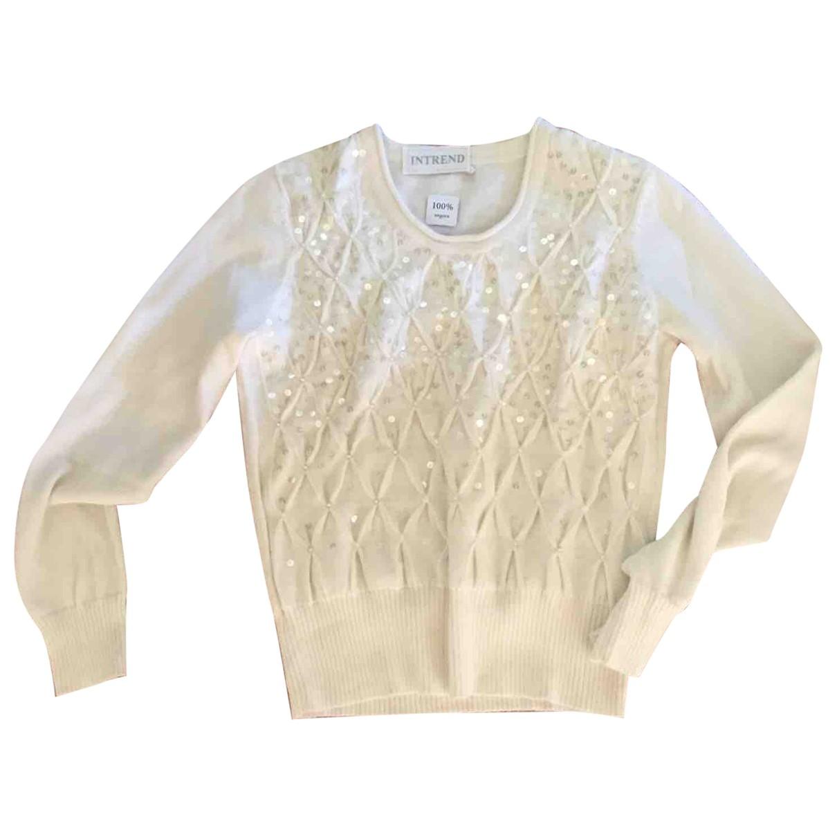 Intrend - Pull   pour femme en laine - blanc