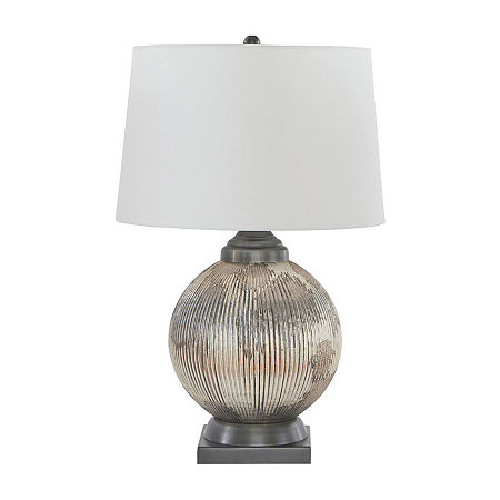 Signature Design by Ashley Cailan Glass Table Lamp, One Size , Silver