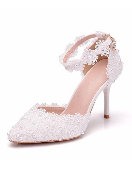 Milanoo Zapatos de novia de PU Zapatos de Fiesta de tacon de stiletto Zapatos blanco  Zapatos de boda de puntera puntiaguada 9cm con perlas