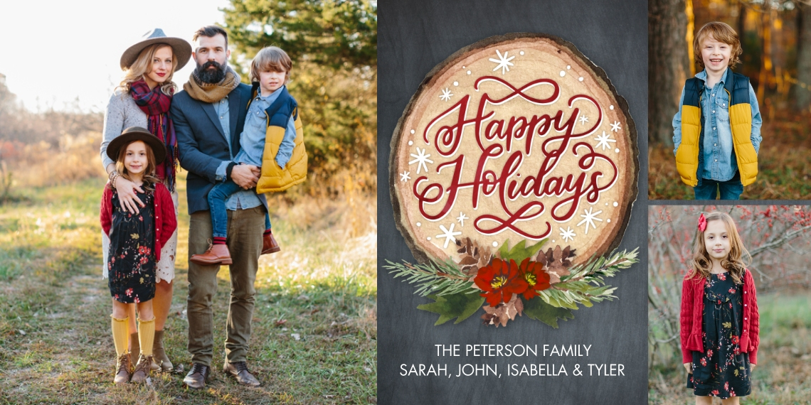 Holiday Photo Cards 4x8 Flat Card Set, 85lb, Card & Stationery -Holiday Script Wood Plaque by Tumbalina