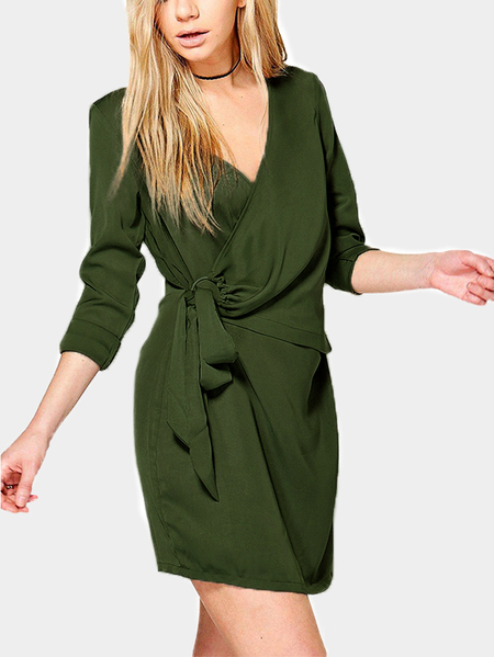 Yoins Army Green Crossed Front Design V-neck Long Sleeves Dress