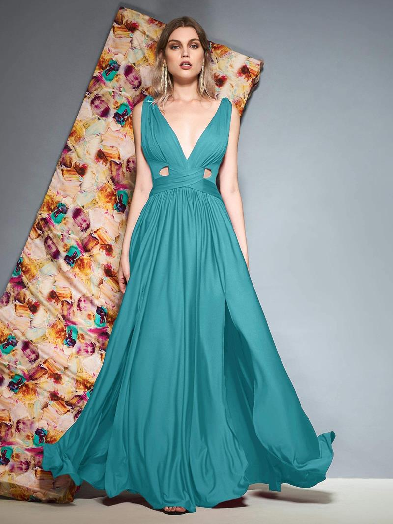 Ericdress V-Neck Split-Front Hollow Evening Dress
