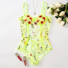 Neon Lime Floral Embroidered Mesh Underwire Teddy Bodysuit