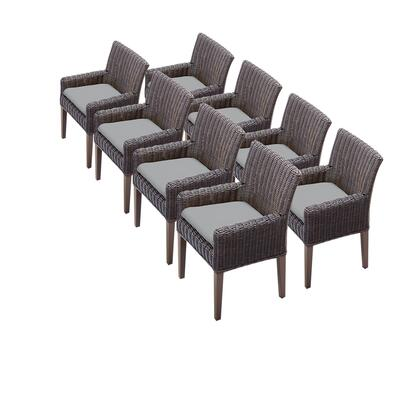 TKC099b-DC-4x-C-GREY 8 Venice Dining Chairs With Arms with 2 Covers: Wheat and