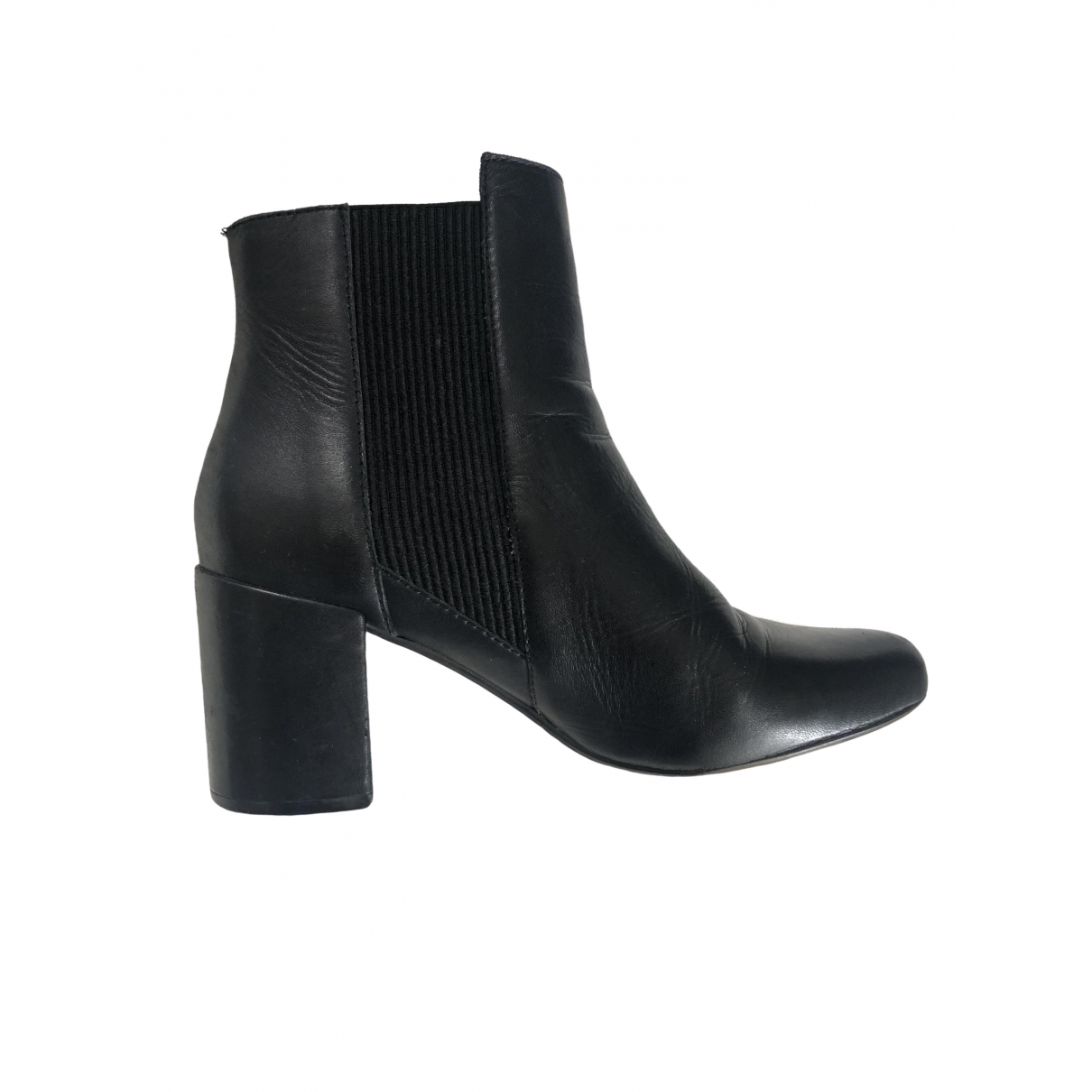 Zara \N Black Leather Ankle boots for Women 38 EU