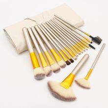 18-teiliges Duo-Faser-Make-up-Pinsel-Set mit Tasche