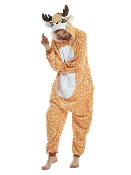 Milanoo Deerlet Kigurumi Onesie Pajamas Unisex Adults Flannel Winter Sleepwear Animal Costume Halloween