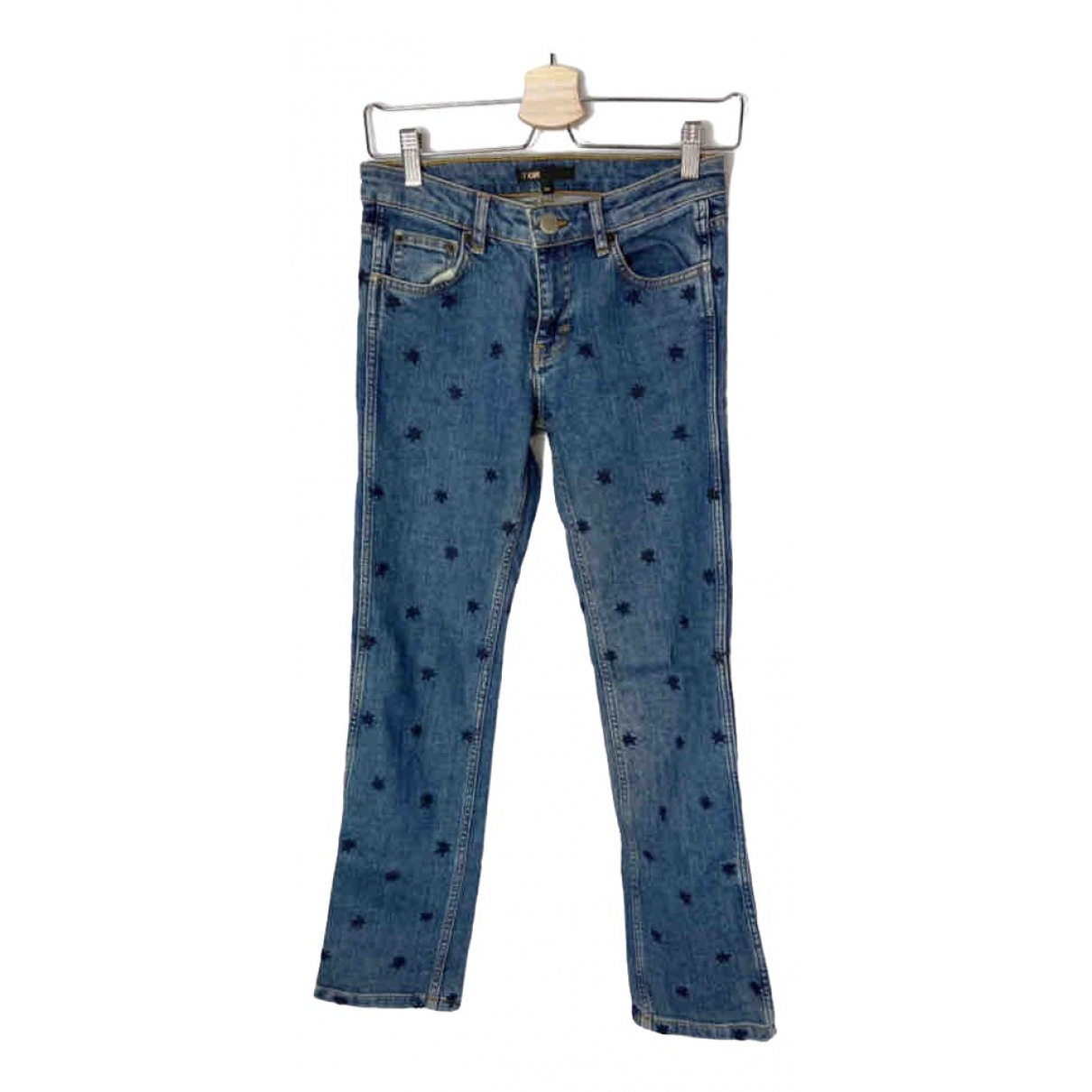 Maje \N Blue Cotton Trousers for Women 34 FR