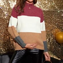 Maternity Mock Neck Drop Shoulder Colorblock Sweater