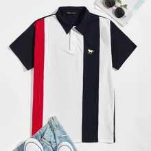 Polo Shirt mit Pferd Muster und Farbblock
