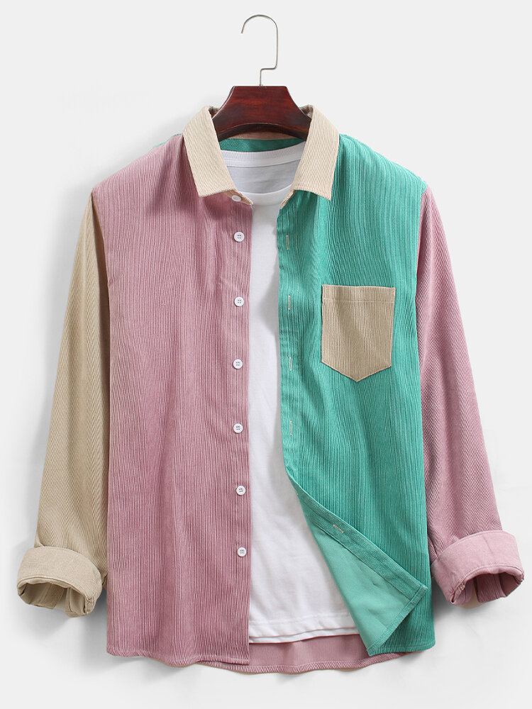 Mens Corduroy Colorblock Patchwork Casual Chest Pocket Long Sleeve Shirts