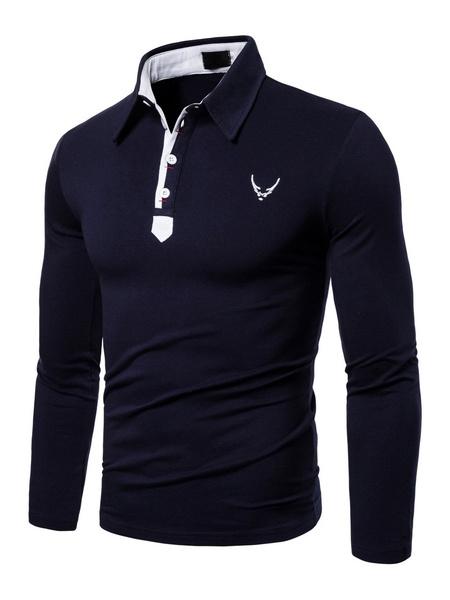 Milanoo Polo Shirt For Men Black Turndown Collar Long Sleeves Casual T Shirt