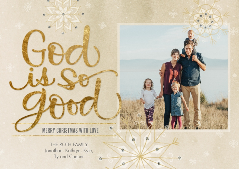 Christmas Photo Cards 5x7 Cards, Premium Cardstock 120lb, Card & Stationery -God Is So Good Snowflakes by Hallmark