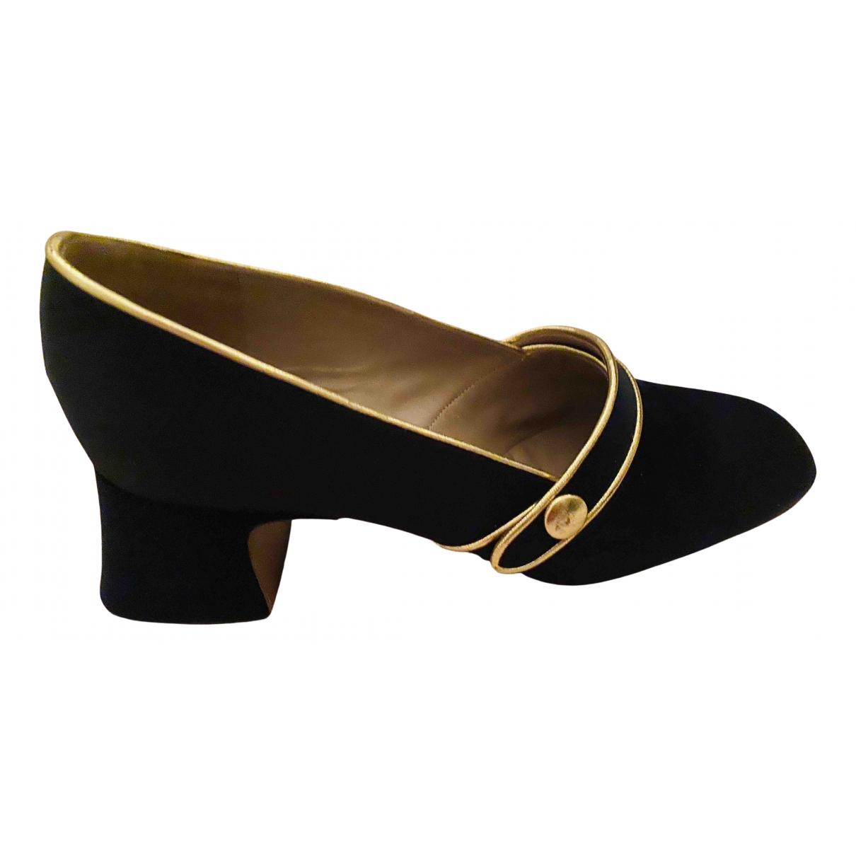 Rochas N Black Cloth Flats for Women 37 EU