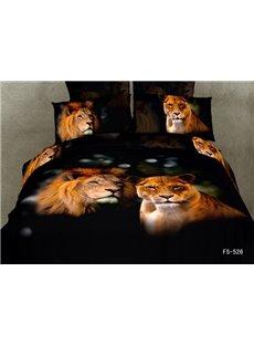 3D A Couple of Lions Printed Cotton 4-Piece Black Bedding Sets/Duvet Covers
