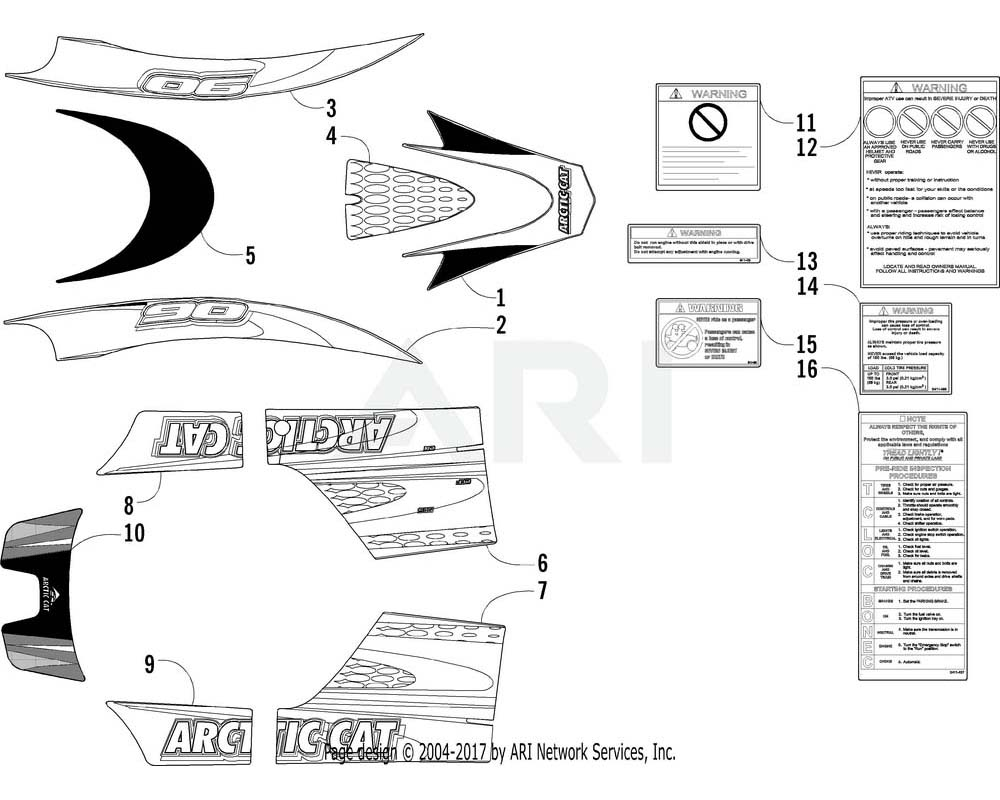 Arctic Cat OEM 0411-449 Decal Graphic Right Hand Upper (Grn)