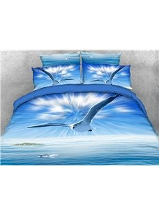 Vivilinen 3D Flying Seagull with Shining Light Rays 4-Piece Blue Bedding Sets/Duvet Covers