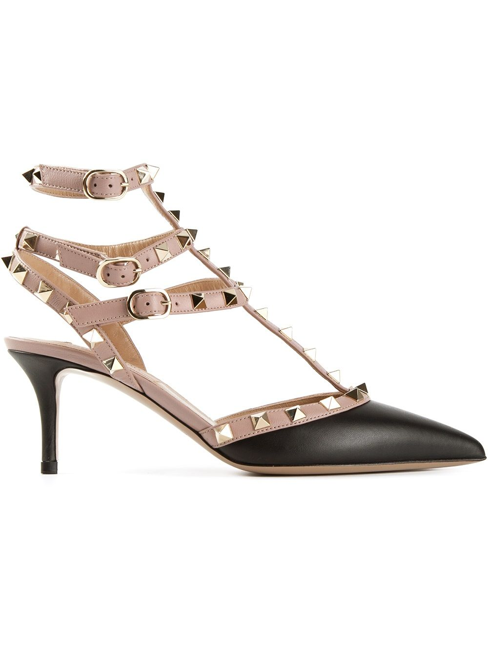 Rockstud Leather Slingback Pumps