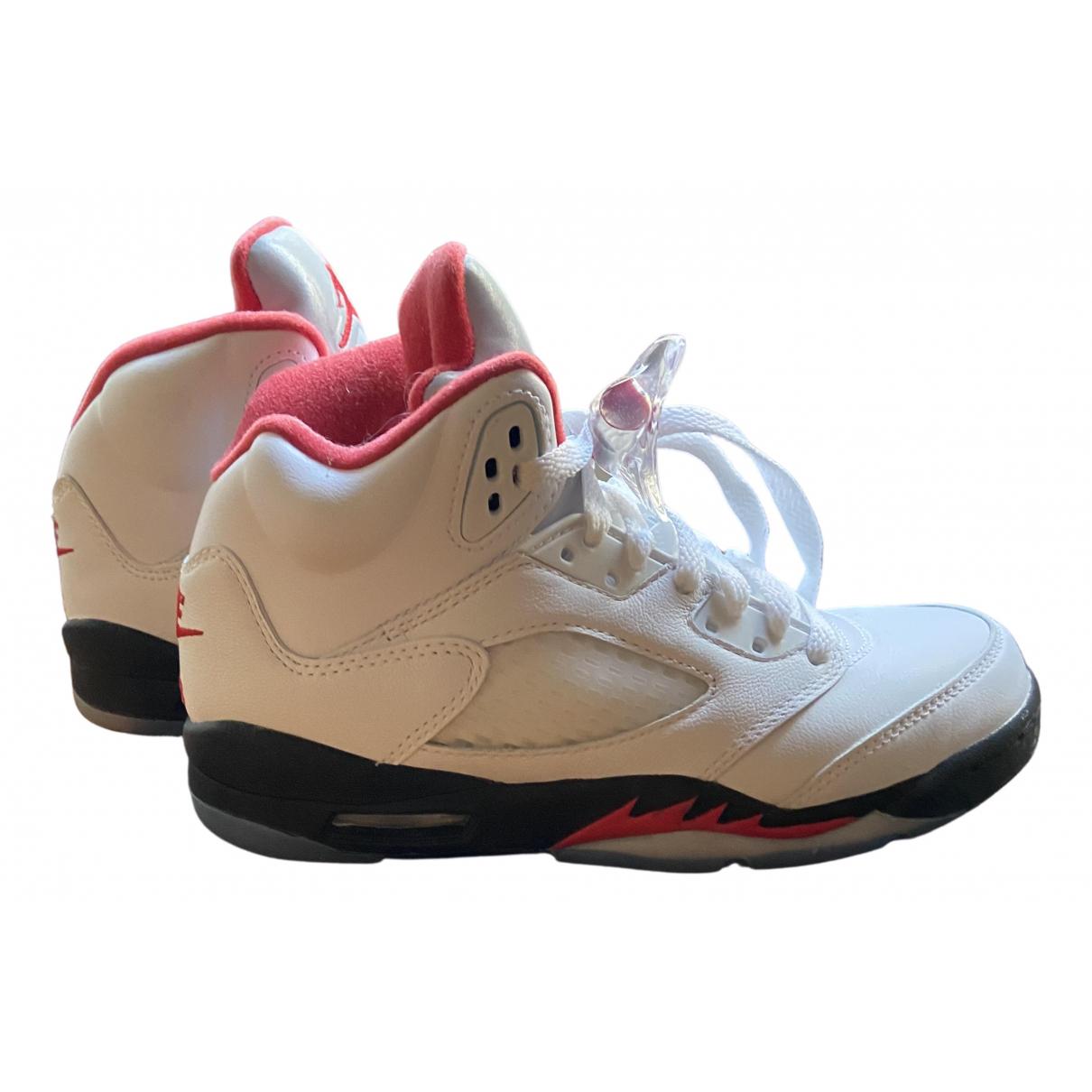 Jordan - Baskets Air Jordan 5 pour femme en cuir - blanc