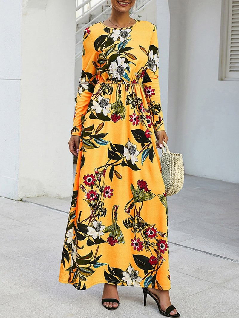 Ericdress Ankle-Length Long Sleeve Print Fall A-Line Dress