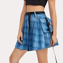 Plaid Belted Buckle Pocket Pleated Skirt