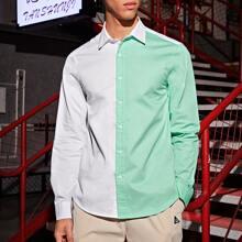 Guys Color Block Button Front Shirt